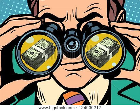 Man and money pop art retro style. Hunger and food. Man looking through binoculars. Business and Finance