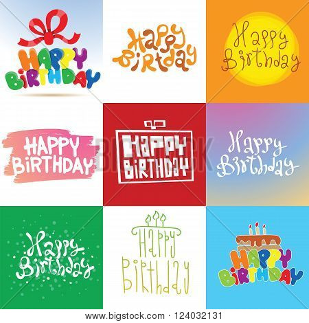 Happy Birthday illustration. Happy Birthday background. Happy Birthday Card design invitation. Happy Birthday Card typography poster. Happy Birthday Card party invitation.