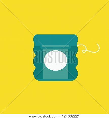 Dental floss vector illustration, dental floss icon. Dental floss isolated on yellow background. Dental floss vector icon flat style, dentist tool floss. Dental floss for tooth care vector. Dental floss silhouette