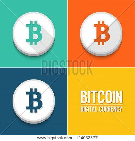 Bitcoin creative colorful icons set. Vector illustration.