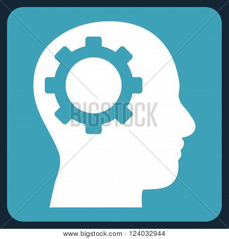 Intellect Gear vector icon. Image style is bicolor flat intellect gear icon symbol drawn on a rounded square with blue and white colors.