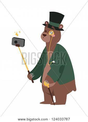 Selfie photo bear business man vector portrait illustration on white background. Cartoon bear business man, bear vector. Selfie bear businessman. Vector bear isolated. Bear business man or politician