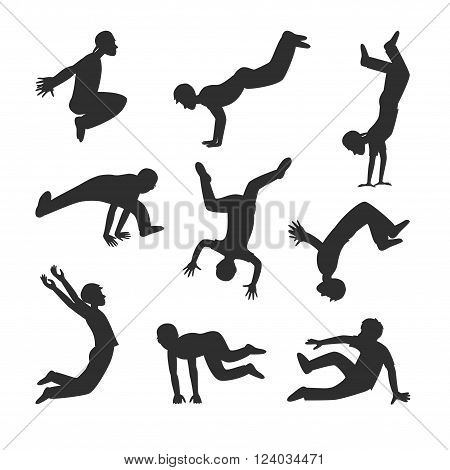Parkour people vector. Parkour people illustration. Parkour people isolated on white. Parkour people icon. Parkour people flat style. Parkour people silhouette. Parkour people tricks. Parkour people cartoon style