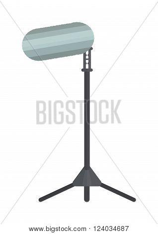 Studio lighting vector flat equipment isolated on white background. Studio spotlight on white background. Photo studio lighting equipment. Photo light, coverage.