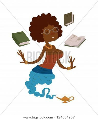 Vector cartoon beautiful teacher gin from the magic lamp on a white background. Set of fairy tale characters. Teacher-gin in glasses and books. Cartoon cute teacher gin.