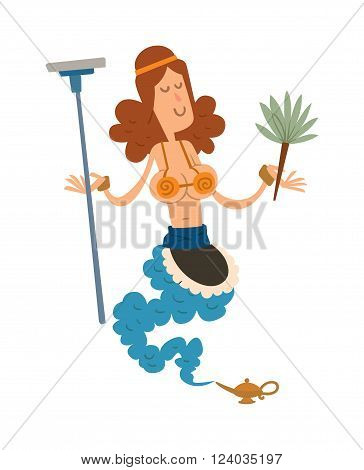 Cartoon cute cleaning girl gin coming out of a magic lamp flat vector illustration. Vector Cartoon cleaning girl gin and Magic Lamp. Character legend cleaning girl-gin people with mop and broom.