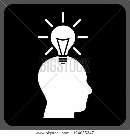 Genius Bulb vector icon symbol. Image style is bicolor flat genius bulb iconic symbol drawn on a rounded square with black and white colors.