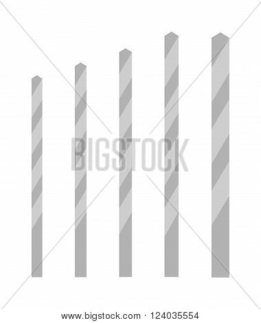 Drill bits of different sizes vector isolated over white background. Flat drill bit cartoon flat vector. Drill bit metal tool. Bit steel industry. Drill bit power instrument