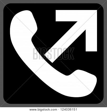 Outgoing Call vector pictogram. Image style is bicolor flat outgoing call pictogram symbol drawn on a rounded square with black and white colors.