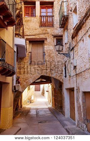 Beceite village arches in Teruel Spain in Matarrana area