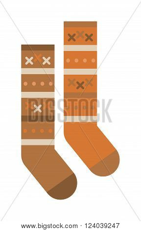 Pair of socks flat cartoon vector style. Socks isolated on a white background. Multicolored woolen socks on a white background. Socks warm winter clothing. Winter socks vector.