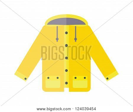 Yellow raincoat weather jacket cartoon vector illustration. Rain coat cartoon. Rain jacket waterproof. Autumn or spring coat isolated. Yellow raincoat waterproof clothes