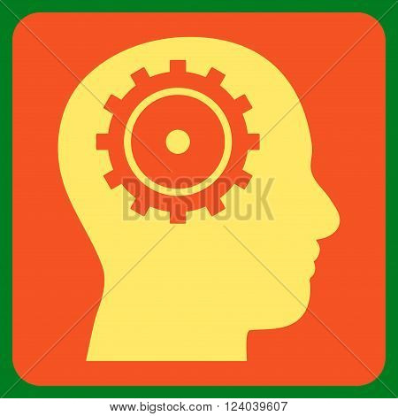 Intellect vector symbol. Image style is bicolor flat intellect iconic symbol drawn on a rounded square with orange and yellow colors.