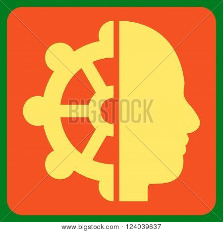 Intellect vector icon symbol. Image style is bicolor flat intellect icon symbol drawn on a rounded square with orange and yellow colors.