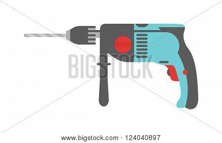 Drill hand tool flat vector. Hand drill electro tools. Electric drill screwdriver icon. Some flat hand drill isolated on white background.