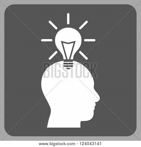 Genius Bulb vector pictogram. Image style is bicolor flat genius bulb icon symbol drawn on a rounded square with dark gray and white colors.