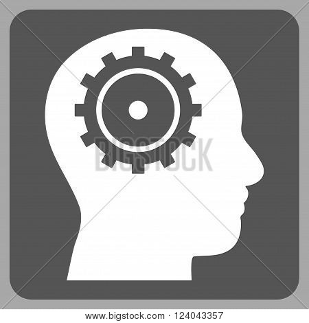 Intellect vector pictogram. Image style is bicolor flat intellect iconic symbol drawn on a rounded square with dark gray and white colors.