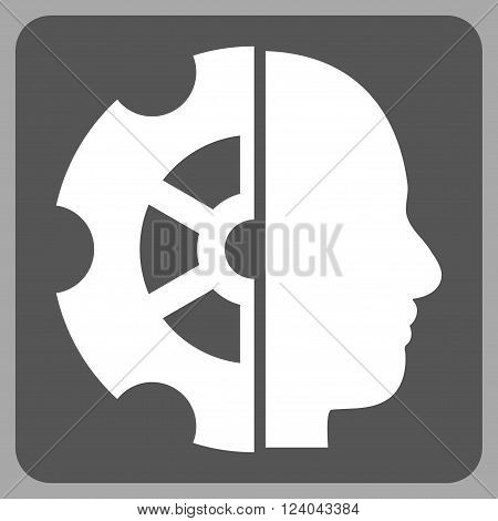 Intellect vector symbol. Image style is bicolor flat intellect iconic symbol drawn on a rounded square with dark gray and white colors.
