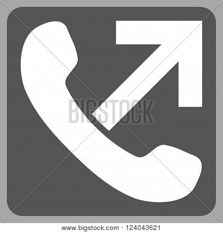 Outgoing Call vector icon. Image style is bicolor flat outgoing call pictogram symbol drawn on a rounded square with dark gray and white colors.