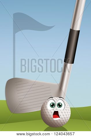 an illustration of Funny golf ball astonished