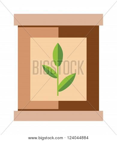 Tea pack with green tea leaf food packaging vector illustration. Packaging tea bag. Paper tea pack. Brown paper tea pack. Container tea pack. Tea pack cartoon vector. Tea pack. Tea pack box with green tea leaf.