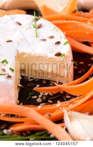 Camembert Cheese With Healthy Seeds And Corrot