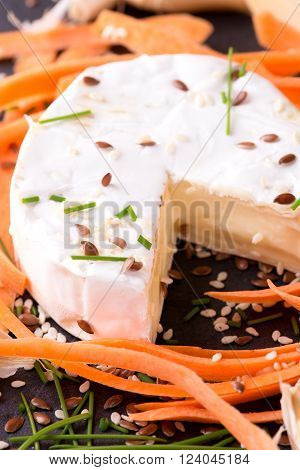 Camembert Cheese With Chive And Carrot Around