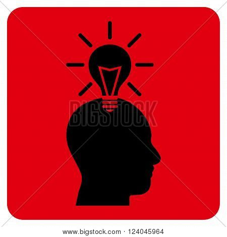 Genius Bulb vector symbol. Image style is bicolor flat genius bulb icon symbol drawn on a rounded square with intensive red and black colors.