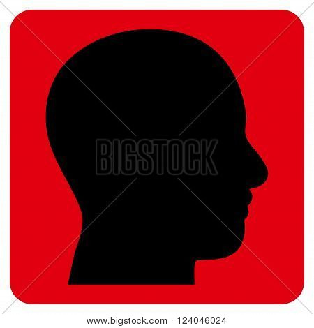 Head Profile vector pictogram. Image style is bicolor flat head profile pictogram symbol drawn on a rounded square with intensive red and black colors.