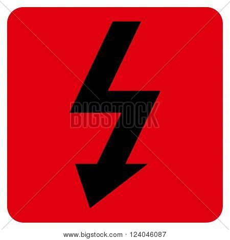 High Voltage vector pictogram. Image style is bicolor flat high voltage iconic symbol drawn on a rounded square with intensive red and black colors.