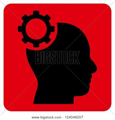 Intellect Gear vector pictogram. Image style is bicolor flat intellect gear iconic symbol drawn on a rounded square with intensive red and black colors.
