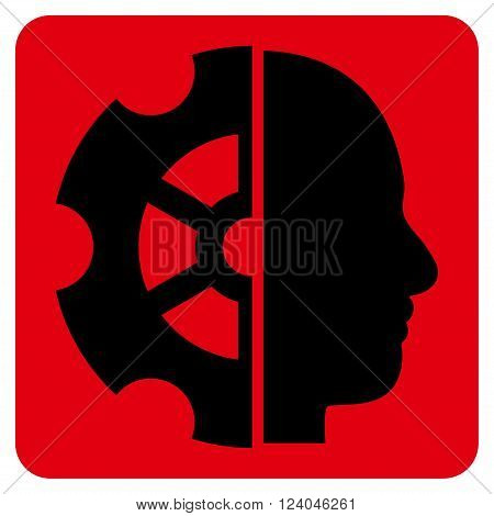 Intellect vector icon. Image style is bicolor flat intellect icon symbol drawn on a rounded square with intensive red and black colors.