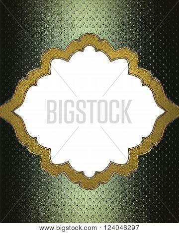 Grunge Green Frame With Gold Border. Template For Design. Copy Space For Ad Brochure Or Announcement