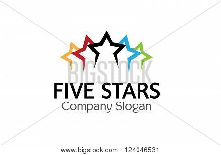 Five Stars Creative And Symbol Logo Design Illustration