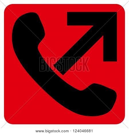 Outgoing Call vector symbol. Image style is bicolor flat outgoing call pictogram symbol drawn on a rounded square with intensive red and black colors.