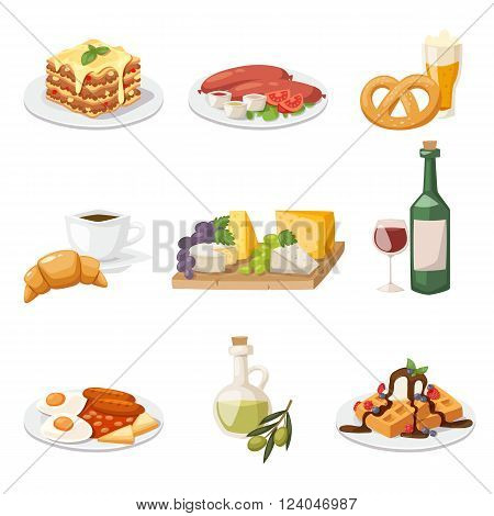 European breakfast cartoon vector illustration. Travel european food set of fresh breakfast  morning food. Flat european breakfast healthy food concept.
