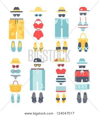 Beachwear different flat vector summer icons, beachwear cloth fashion looks. Beach summer clothes illustration