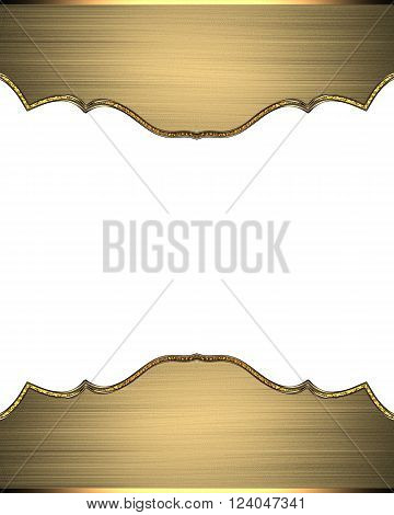 Gold Frame On White Background. Template For Design. Copy Space For Ad Brochure Or Announcement Invi