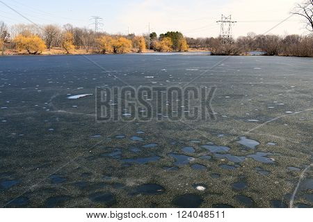 Thin layer of ice on the lake