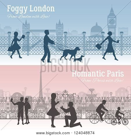 Foggy London and romantic Paris horizontal silhouette banners set flat isolated vector illustration