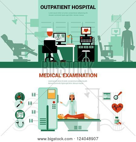 Medical specialists banners with scenes of outpatient hospital and medical examination isolated vector illustration