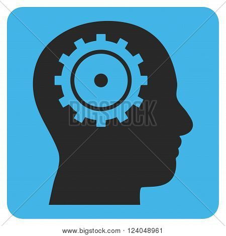 Intellect vector pictogram. Image style is bicolor flat intellect iconic symbol drawn on a rounded square with blue and gray colors.