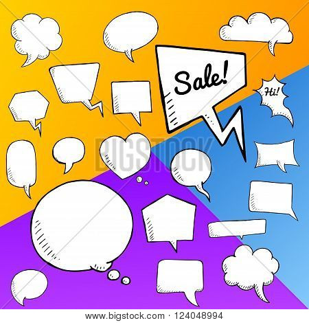 Vector set of speech bubbles. group of doodle speech buble on colorful background