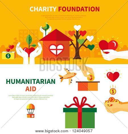 Charity foundations for humanitarian aid 2 flat horizontal banners set with heart and donation symbols abstract vector illustration poster
