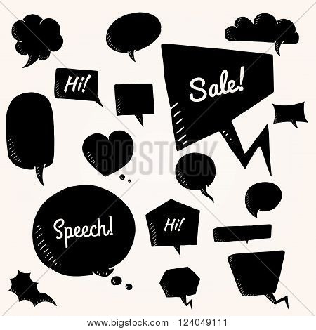 Black vector set of talk and think bubbles. group of doodle speech bubles