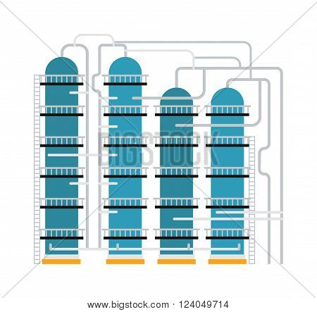 Gas oil production industry business concept of gasoline diesel production fuel distribution and transportation composition vector illustration. Process of oil production and petroleum refining