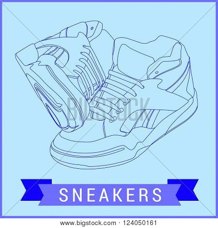 Vector line art sneakers. Hand-drawn illustration isolated on white. Sneakers flat icon. Vector Stylized sneakers. Outline urban shoes with long shadow. Sport icon or design element.