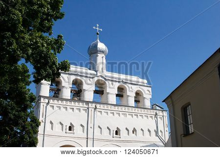 Belfry of St. Sophia Cathedral (Sofia belfry) - a monument of architecture XV--XVIII centuries in the Novgorod Kremlin. Velikiy Novgorod city fortress. Christian churches of Russia. Tourism place.