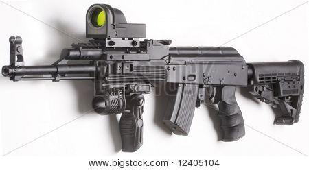 kalashnikov machine gun close up isolated on white background