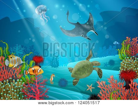 Underwater cartoon landscape with various sea animals and plants vector illustration